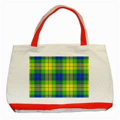 Spring Plaid Yellow Classic Tote Bag (red)