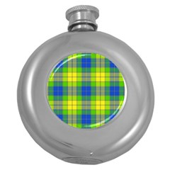 Spring Plaid Yellow Round Hip Flask (5 oz)