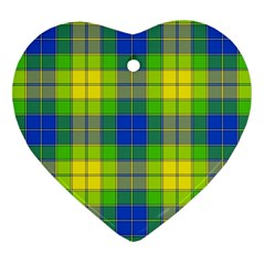 Spring Plaid Yellow Heart Ornament (Two Sides)