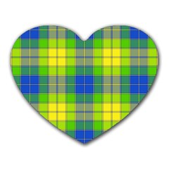 Spring Plaid Yellow Heart Mousepads