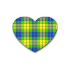 Spring Plaid Yellow Rubber Coaster (heart)