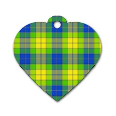 Spring Plaid Yellow Dog Tag Heart (two Sides)