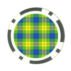 Spring Plaid Yellow Poker Chip Card Guard