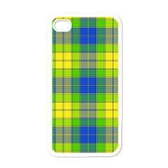 Spring Plaid Yellow Apple iPhone 4 Case (White)
