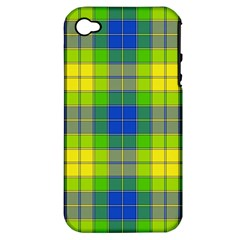 Spring Plaid Yellow Apple iPhone 4/4S Hardshell Case (PC+Silicone)