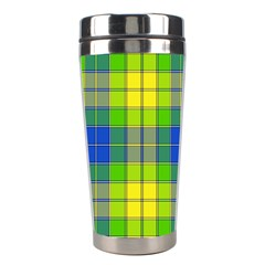 Spring Plaid Yellow Stainless Steel Travel Tumblers
