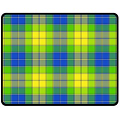 Spring Plaid Yellow Double Sided Fleece Blanket (Medium)