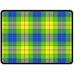 Spring Plaid Yellow Double Sided Fleece Blanket (Large)
