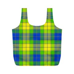 Spring Plaid Yellow Full Print Recycle Bags (M)