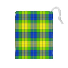 Spring Plaid Yellow Drawstring Pouches (Large)