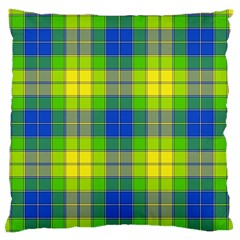 Spring Plaid Yellow Large Flano Cushion Case (Two Sides)
