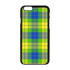 Spring Plaid Yellow Apple iPhone 6/6S Black Enamel Case