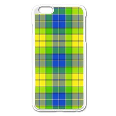 Spring Plaid Yellow Apple iPhone 6 Plus/6S Plus Enamel White Case