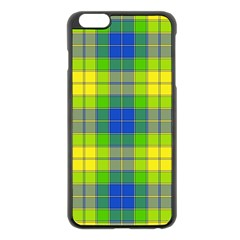 Spring Plaid Yellow Apple iPhone 6 Plus/6S Plus Black Enamel Case