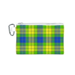 Spring Plaid Yellow Canvas Cosmetic Bag (S)