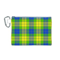 Spring Plaid Yellow Canvas Cosmetic Bag (M)