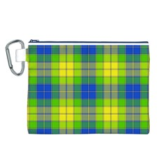 Spring Plaid Yellow Canvas Cosmetic Bag (L)