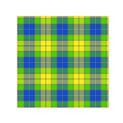 Spring Plaid Yellow Small Satin Scarf (Square)