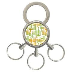 Angerine Blenko Glass 3 Ring Key Chains