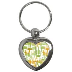 Angerine Blenko Glass Key Chains (heart)