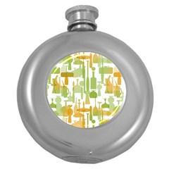 Angerine Blenko Glass Round Hip Flask (5 oz)