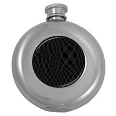 Pattern Dark Texture Background Round Hip Flask (5 oz)