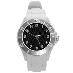 Pattern Dark Texture Background Round Plastic Sport Watch (L)