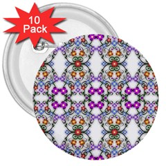 Floral Ornament Baby Girl Design 3  Buttons (10 Pack)