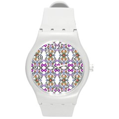 Floral Ornament Baby Girl Design Round Plastic Sport Watch (m)