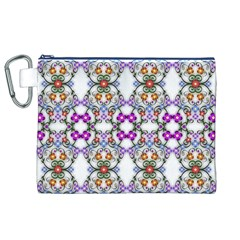 Floral Ornament Baby Girl Design Canvas Cosmetic Bag (xl)