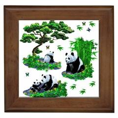 Cute Panda Cartoon Framed Tiles