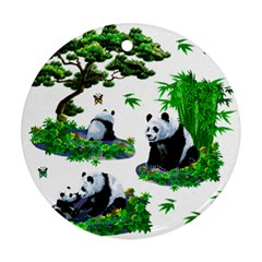 Cute Panda Cartoon Ornament (round)