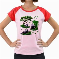 Cute Panda Cartoon Women s Cap Sleeve T-Shirt
