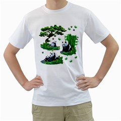 Cute Panda Cartoon Men s T Shirt (white) (two Sided)