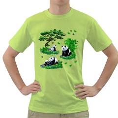 Cute Panda Cartoon Green T Shirt
