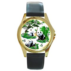 Cute Panda Cartoon Round Gold Metal Watch