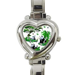 Cute Panda Cartoon Heart Italian Charm Watch