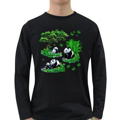 Cute Panda Cartoon Long Sleeve Dark T Shirts