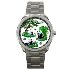 Cute Panda Cartoon Sport Metal Watch