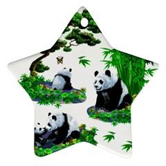 Cute Panda Cartoon Star Ornament (two Sides)