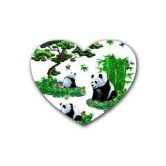 Cute Panda Cartoon Heart Coaster (4 Pack)