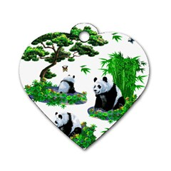 Cute Panda Cartoon Dog Tag Heart (One Side)