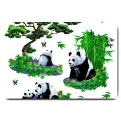 Cute Panda Cartoon Large Doormat
