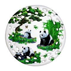 Cute Panda Cartoon Ornament (round Filigree)