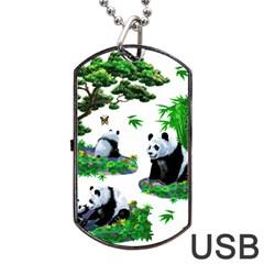 Cute Panda Cartoon Dog Tag Usb Flash (one Side)