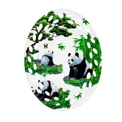Cute Panda Cartoon Ornament (Oval Filigree)