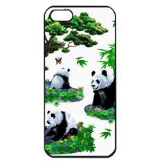 Cute Panda Cartoon Apple iPhone 5 Seamless Case (Black)