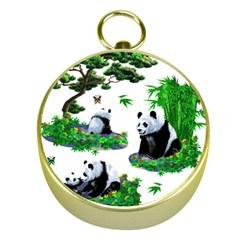 Cute Panda Cartoon Gold Compasses