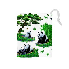 Cute Panda Cartoon Drawstring Pouches (Medium)