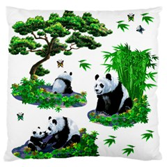 Cute Panda Cartoon Large Flano Cushion Case (One Side)